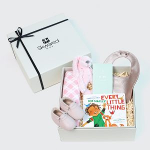 Gift box with baby girl products