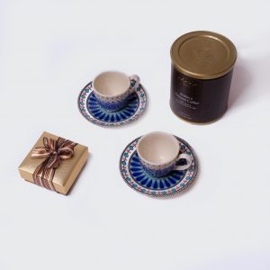 Gift box with blue coffee products